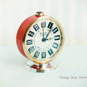 Vintage Rare Alarm Clock - Soviet Mechanical Alarm Clock SLAVA - Tiny Clock - Home Decor - Vintage Decor - Red