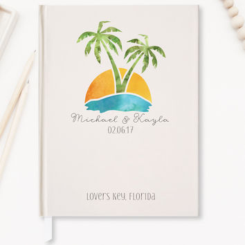 Wedding Guest Book, Tropical Wedding Guestbook, Hard Cover, 5x7 or 8x10 Guest Book - Choice of Colors - GB-PT