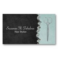 Hair Stylist Chic Black And Teal with Flower Vine Business Card Templates