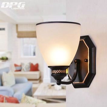 Led Modern Art Decoration Iron Wall Lamp Indoor Lighting Wall Sconces W/ White Shade For Bedroom