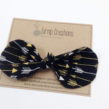 Arrows Knot Hair Bow Black Gold Metallic Hair Clip Knotted Bow Fabric Bow Headband Top Knot Hairclip Navy Hair Bow Boho Arrow Shabby Chic