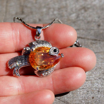 Sparkly Gold Fish Pendant Necklace