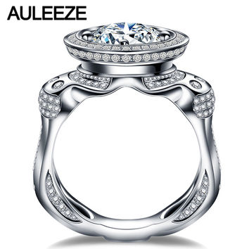 Unique Personality 1.5CT Moissanites Lab Grown Diamond Ring 14K Gold Wedding Band Mens Boss 585 White Gold Engagement Ring