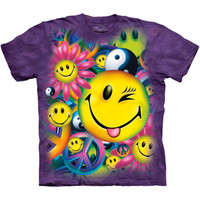 PEACE AND HAPPINESS The Mountain Happy Face Hippie Sign Tie Dye T-Shirt S-3XL