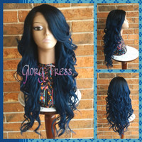 ON SALE // Long & Curly Lace Front Wig, Ombre Blue Wig, Dark Rooted Bombshell Wig // STORM (Free Shipping