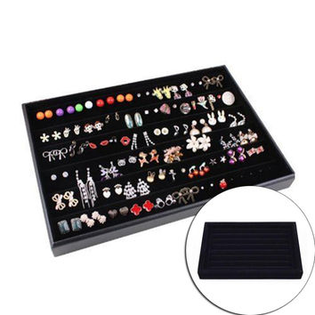 New Fashion Black Ring Earrings Bracelet Necklace Velvet Jewelry Display Box Cufflinks Storage Case Organizer