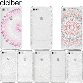 ciciber Henna Floral Paisley Flower Mandala Pattern soft silicon case cover For iPhone 6 6S 7 8 plus 5S SE X Capinha Coque