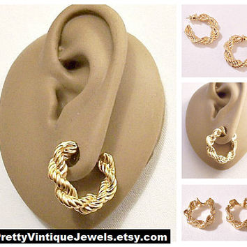 Monet Chain Link Rope Hoops Clip On or Pierced Post Earrings Gold Tone Vintage Twisted Weaved Round Textured Large Ring Dangles