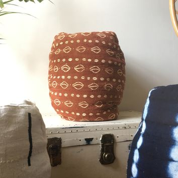 Shibori Indigo Stripe or Rust & White Mudcloth Poufs / Bean Bag Chair / Ottoman