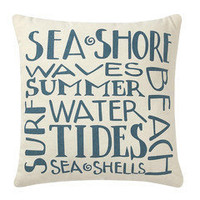 Sea Shore & Waves Pillow ? French Beach House Decor & Furniture