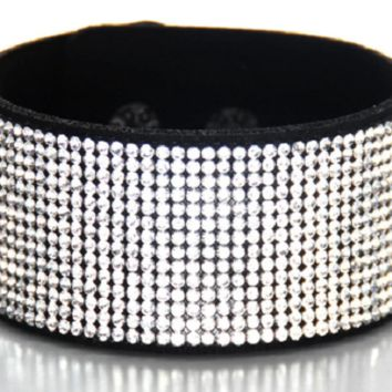 "7.00"" - 7.50"" crystal pave snap bracelet bangle cuff 1.25"" wide"