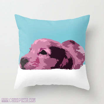 "Dachshund, Pet Graphic Print 16"" x 16"" Throw Pillow Cover - Couch Art, Dog, Doggy, Puppy Love, Purple, Tiffany Blue, Teal, White"