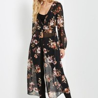 Black Floral Chiffon Duster