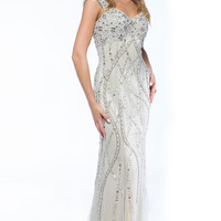 Beaded Evening or Prom Dress with Keyhole Back