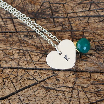 Heart tag Necklace with wrapped stone silver necklace, Silver Initial necklace, Personalized Jewelry, Charm Wedding Personalized Jewelry