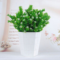 1 Pc Artificial Green Fake Plant Plastic Grass Bush Home Office Decoration CC