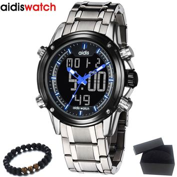 New High quality Sport Watch Luxury Blue Men's Digital LED Date Alarm Military Electronics Steel Strap Wrist Watches Hot Clock