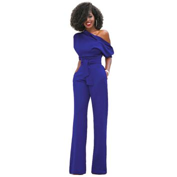 2017 Jumpsuit Sexy Summer Overalls Half Sleeve Off Shouuld Solid Rompers Womens Jumpsuits Bodycon Elegant Bodysuit