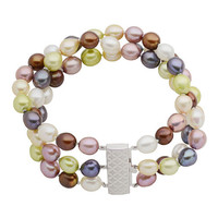 Imperial Pearl: This is a three row vibrently colored 7-7.5mm freshwater pearl braceletwith a beautiful sterling silver clasp.