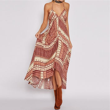 Exotic Low Plunge Maxi Dress