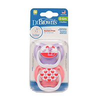 Dr. Brown's PreVent Classic Pacifier, Stage 1 (0-6m),  Unique Pink/Purple, 2-Pack