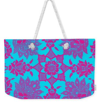 An Ottoman Iznik Style Floral Design Pottery Polychrome, By Adam Asar, No 13e - Weekender Tote Bag