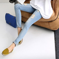 spring new nine-hole soft elastic Maternity Pants Pregnant denim pants feet care of pregnant women pregnant belly pants