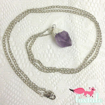 Silver Dipped Raw Amethyst Extra Long Necklace