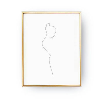 Female Figure Profile, Woman Silhouette, Woman Print, Beauty Print, Black And White, Sketch Art, Minimal Art, Body Drawn, Feminine Poster