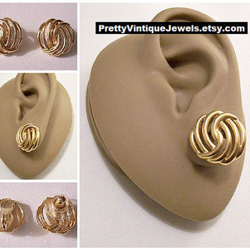Monet Swirl Rib Button Clip On or Pierced Post Stud Earrings Gold Tone Vintage Round Open Rings