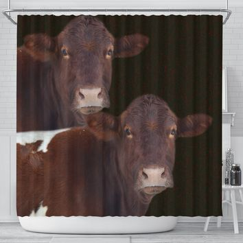 Cute Pinzgauer cattle (Cow) Print Shower Curtain-Free Shipping