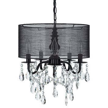5 Light Crystal Plug-In Chandelier with Cylinder Shade (Black)