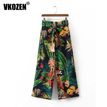 Women Vintage Tropical Floral Leaf Print Wide Leg Pants Sashes Tied Bow Women High Waist Loose Trousers Casual Pants YN-4710