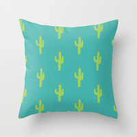 Valentine Homegrown Love Cactus Pattern Throw Pillow by Two if by Sea Studios