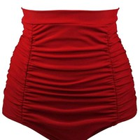 Red Retro High Waisted Swim Short