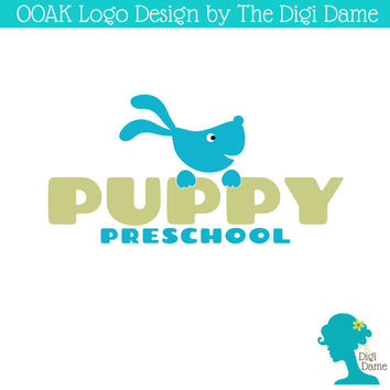 OOAK Premade Logo Design: Cartoon Puppy Dog in Turquoise and Olive Green