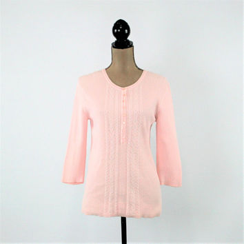 Light Pink Sweater Women Medium Spring Sweater Pastel Cotton Sweater 3/4 Sleeve Knit Top Pink Vintage Clothing Womens Clothing