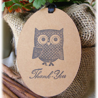 Adorable Owl Thank You Tags on craft cardstock - perfect for rustic wedding or shower favors - Set of 10