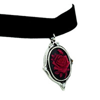 Gothic Thorn Red Rose Vine Cameo Velvet Choker Necklace