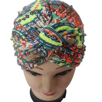 2017 New Classic Colorful Paisely Print Indian Hi jabTurban Hat For Women Ladies