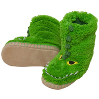 Alligator Youth Fuzzy Fleece Slippers