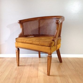 vintage Hollywood Regency cane chair.