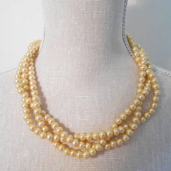 Gold chunky choker elegant bridal accessories, wedding necklace, braided pearl necklace, glass statement jewelry, birthday gift for her