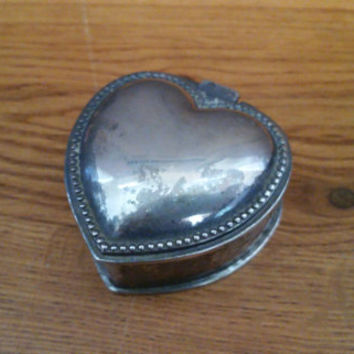 Vintage Silver Toned Heart Shaped Trinket Box With Velvet Lining Perfect for Jewelry Storage Gift Giving Proposal