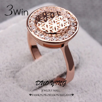 WinWinWin 3Win Vogue Ladies Rings Rose Gold Plated Flower Printed Shining Crystal Wedding Rings For Women Anel Ouro Kpop Anillos