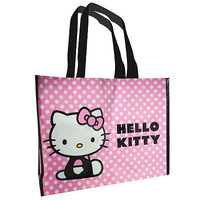 HELLO KITTY SHOPPING LARGE ECO BAG FOR LIFE TOTE BAG CARRY PINK WHITE POLKA DOTS