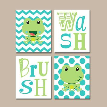 FROG Bathroom Wall Art, Frog Bath Decor, Frog Wash Brush Rules, Kid Bathroom Canvas or Prints Girl Boy Bathroom, Brother Sister Set of 4