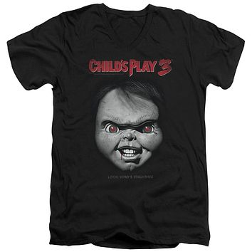 Childs Play Slim Fit V-Neck T-Shirt Chucky Look Whos Stalking Black Tee