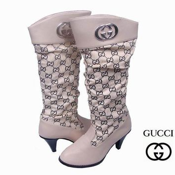 One-nice™ GUCCI Women Fashion Leather Tube in Boots Heels Shoes