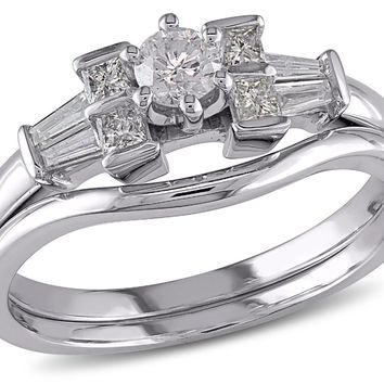 Round Diamond 1/2 Carat (ctw Color H-I Clarity I2-I3) Engagement Ring & Wedding Band Set in 10K White Gold